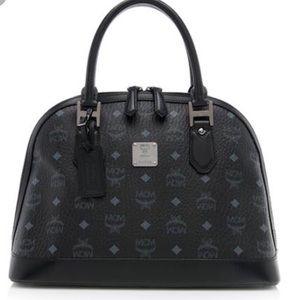 NWOT MCM Black & Navy Heritage Medium Bowler Bag